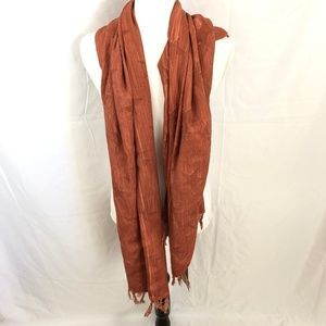 Zara Man Rusty Brown Star Details Scarf Wrap M
